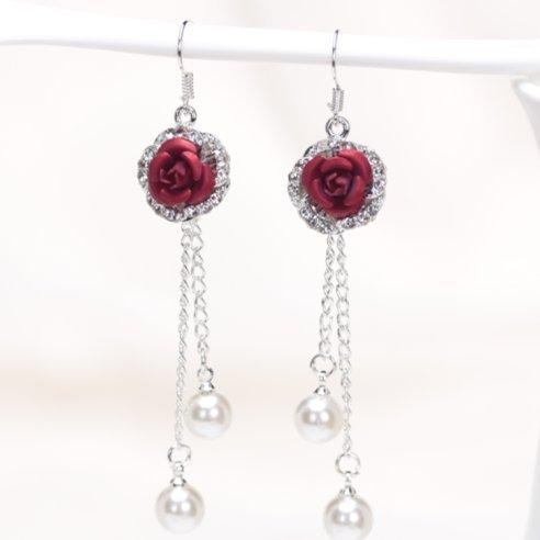 Hot temperament long tassel earrings female models wild personality earrings ear jewelry simple influx of people pearl pendant earrings