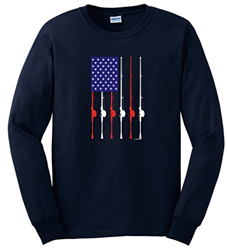Mud Flap Flag American (Funny Fishing Shirts for Women Patriotic Fishing Pole American Flag Long Sleeve T-Shirt Small Navy)