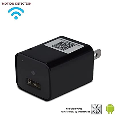 Wireless Spy Camera USB Wall Charger Adapter HD Wall Plug Charger Hidden Cameras Loop Recording Nanny Camera Support APP (ios or android) Remote View Built-in 8GB from FOCUSKYLIFE