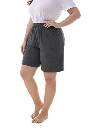 ZERDOCEAN Women's Plus Size Modal Stretchy Relaxed Lounge Shorts with Pockets Dark Gray ()