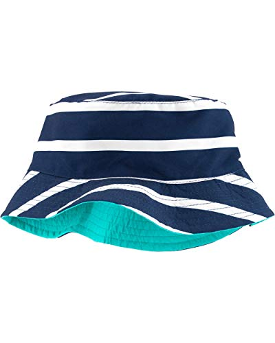 Carter's Boys UPF Bucket Hat (Turquoise/Navy Stripes, 12-24 Months)
