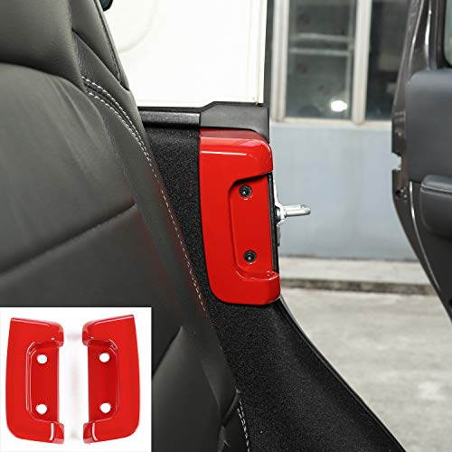 Car Rear Door Lock Buckle Decoration Cover Trim for Jeep JL Wrangler 2018+ (Red)