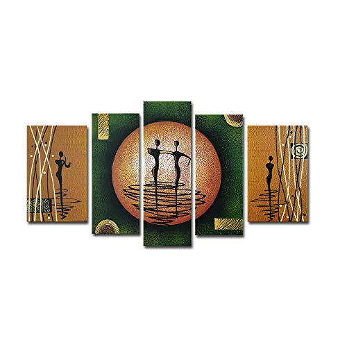 Wieco Art Dance on a Golden Moon Modern 100% Hand-Painted Stretched and Framed Artwork 5 Piece Abstract Oil Paintings on Canvas Wall Art Décor for Living Room Bedroom Home Decorations