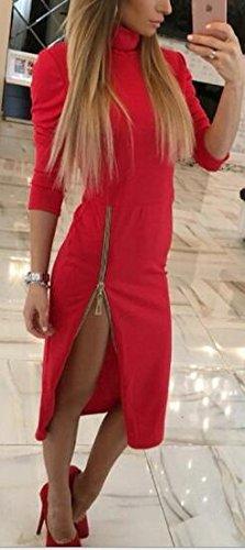 Vestito Collo Sexy Sottile Alto Di Partito Laterale Rosso Cerniera Midi Jaycargogo Modo Donne xUqOa5wT