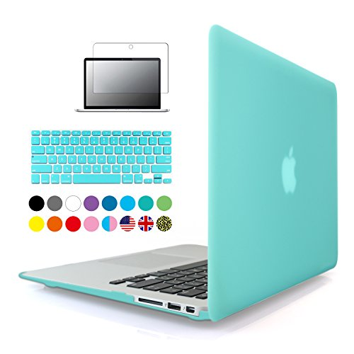 iBenzer - 3 in 1 Multi colors Soft-Touch Plastic Hard Case Cover & Keyboard Cover & screen protector for Macbook Air 13 Turquoise MMA13TBL2
