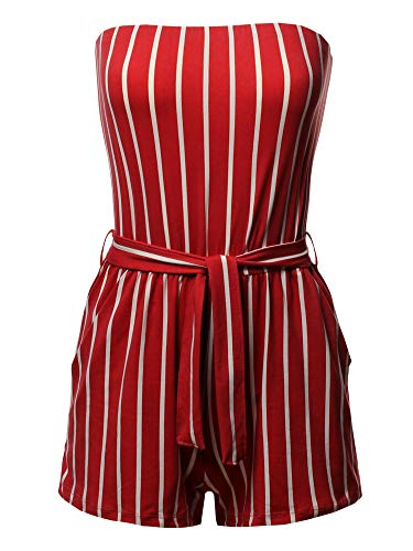 - Pinstripe Print Tube Romper Beachwear One-Piece Jumpsuit Red S