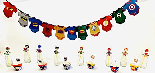 Superhero Marvel Avengers Party Banner DC Justice League Cupcake wrappers and picks, Superhero Straws]()
