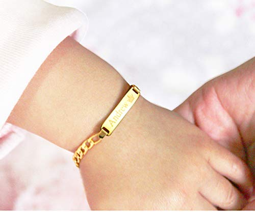 Tina&Co Personalized 14K Gold Plated Baby Name Bracelet Custom Bracelets for Kids Id Protection Bracelet Baptism for Girls-Gold 13