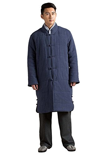 Roberoody Handsome Chinese Traditional Mens Cotton Coat Meditation Outwear Winter Long Coat BlueSmall by Roberoody Novelty-outerwear-jackets