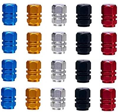 Tyre Valve Dust Caps Car Trucks Bicycle Prevent Air Leakage Motorbike Universal Tyre Valve Covers Senven 25 pcs high Quality Color Aluminium Valve Stem Caps