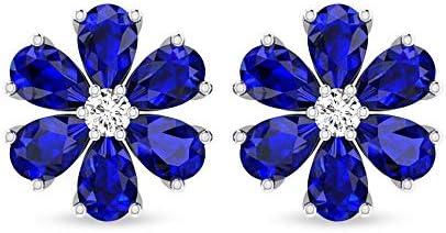 Pendientes de flor de zafiro azul con diamantes de claridad de color IJ-SI, pendientes de piedra preciosa en forma de pera, diamantes certificados IGI Cluster Stud pendientes, tornillo hacia atrás