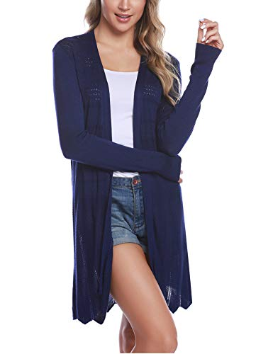 Long Cotton Cardigan - iClosam Womens Casual Long Sleeve Open Front Cardigan Sweater (#5Blue, X-Large)