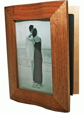 (Oak Wood Photo Album Picture Frame, Book Style, 4x6, 8-inch, Stained)