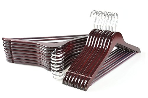 TOPIA HANGER Extra Strong Cherry Wooden Suit Hangers, Solid Wood Coat Hangers, Glossy Finish with Extra Thick Chrome Hooks & Anti-slip Bar, 16-Pack CT01M ()