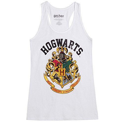 Harry Potter Hogwarts Crest - HARRY POTTER Distressed Hogwarts Crest Juniors Tank Top - White (Small)