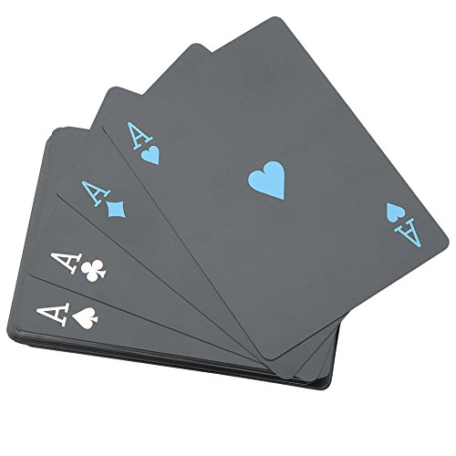 (Dilwe Magic Playing Cards, Black Plastic PVC Poker Waterproof Playing Cards Sets for Travel Swimming(Iron Box))