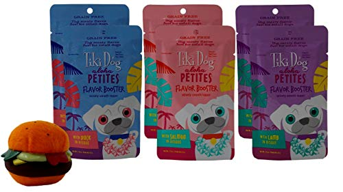 Tiki Dog Aloha Petites Small Breed Grain Free Flavor Bosters 3 Flavor Variety 6 Pouch Plus Toy Bundle, 2 Each: Duck…