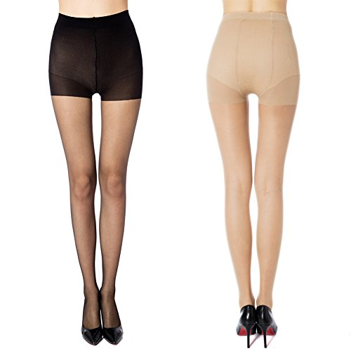 MANZI Women's 2 Pairs Control Top Plus Size High Waist Pantyhose Tights