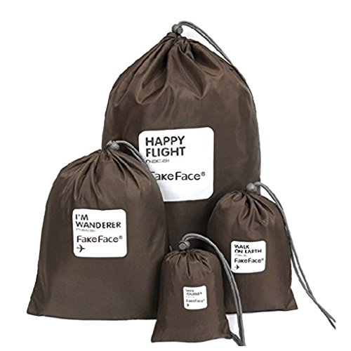 BXT Reisebeutel mit Kordelzug, wasserdicht, Nylon, Tasche für Kleidung/ Schuhe, Set aus 4Größen, himmelblau (blau) - BXT-TRABAG-220 Kaffee