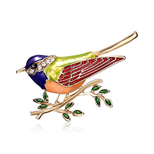 AILUOR Cute Bird Brooch Pins, Enamel Bird Collection Custom Accessories Wedding Brooches Jewelry Gifts Women Teen Girls (Green)