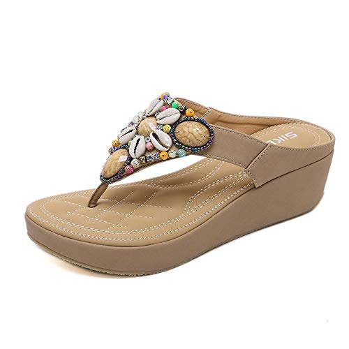 Happy Wind Women's Comfortable Thong Sandals Dressy T-Strap Flip Flop Sandals Beaded Rhinestone Flower Slip on Summer Beach Shoes Apricot (Strappy Low Heel Sandal With Crystals By Blossom)