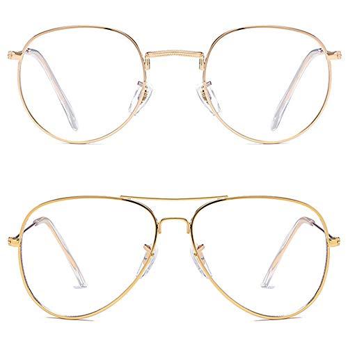 Various Blue Light Blocking Glasses Round Metal Eyeglass Frames/Aviator Glasses Frames for Men Women Anti Blue Ray Computer Game Glasses ()