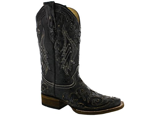Corral Women's A2404 Snake Inlay Brown Fashion Western Cowboy Boots B00534NEFG 7 B(M) US|Black