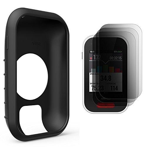 TUSITA Protective Cover for Polar V650, Silicone Skin Case with Screen Protector for Polar V650 GPS Bike Computer (Black)