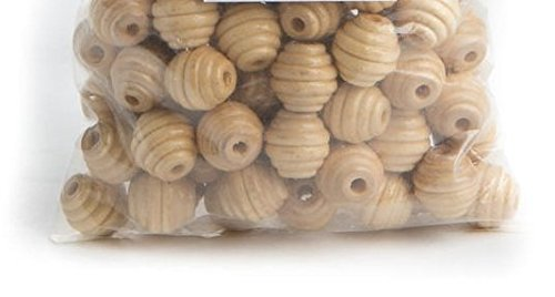 - Factory Direct Craft Package of 100 Shiny, Round, Ribbed Natural Wood Beads with 3MM Pre-Drilled Hole for Crafting, Creating and Designing