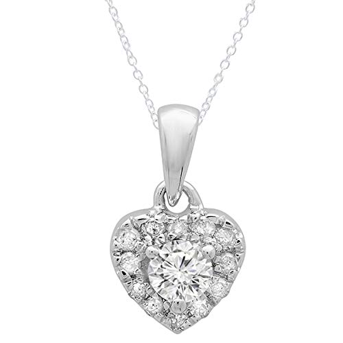 Dazzlingrock Collection 0.25 Carat (ctw) 10K Round Diamond Ladies Heart Pendant 1/4 CT (Silver Chain Included), White Gold