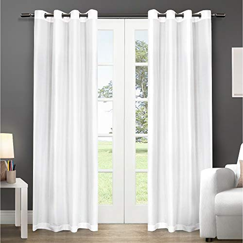 Exclusive Home Curtains Chatra Faux Silk Window Curtain Panel Pair with Grommet Top, 54x96, Winter White, 2 Piece (Made Silk Panels Ready Drapery)