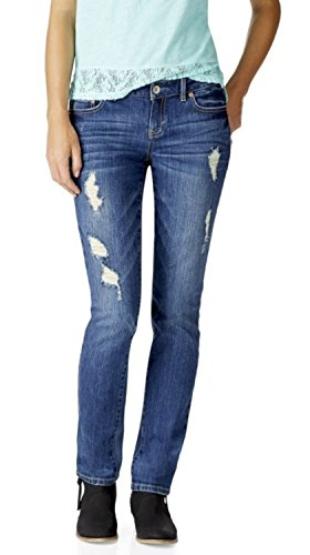 Aeropostale Womens Destructed Skinny Dark Wash Jeans 0 Regular Blue