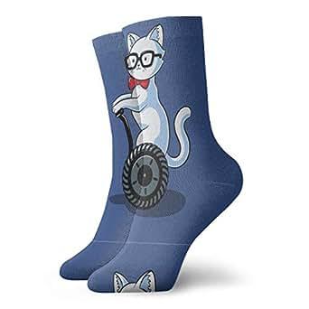 Nerdy Cat Printed Crew Socks Winter Vintage Business Socks