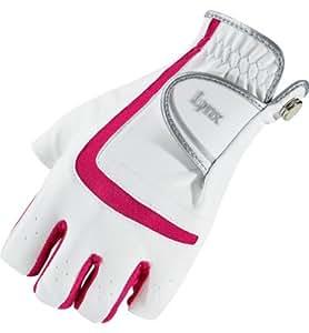 Lynx Womens Synthetic Half-Finger Golf Glove( COLOR: White/White )