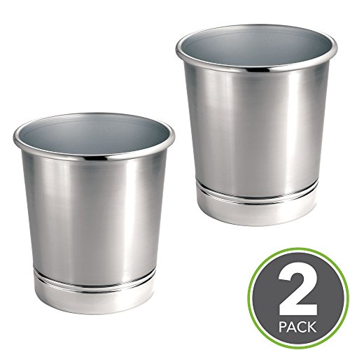 mDesign Round Metal Small Trash Can Wastebasket, Garbage Container Bin for Bathrooms, Kitchens, Home Offices - Pack of 2, Solid Steel Construction, Brushed Nickel Finish and Polished Chrome (Chrome Round Wastebasket)