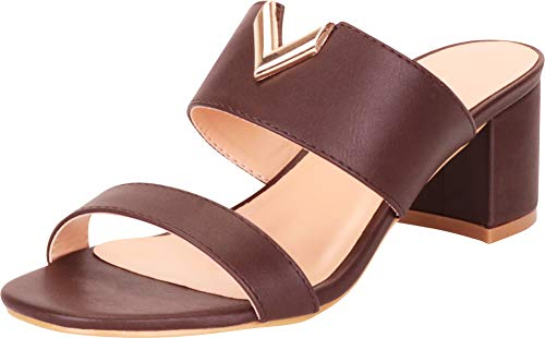 Brown Heeled Chocolate - Cambridge Select Women's Open Toe Two-Strap Cutout Slip-On Chunky Block Mid Heel Sandal,10 B(M) US,Chocolate PU