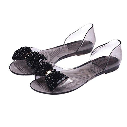 Bow Peep Toe Sandal (OMGard Women Sandals Summer Ribbon Bow Peep Toe Jelly Shoes Sandal Flat Shoes Woman Color Black Size 7)
