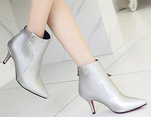 Back Elegant Booties Heels Pointed Women's Toe IDIFU Ankle Silver Zipper Studded Boots Kitten Stiletto z5q7FU