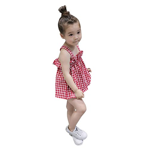 Sannysis Baby Kleider, Kind Baby Mädchen Mode Plaid Ärmelloses Rückenfreies Kleid Outfits Kleidung Rot