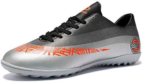 男女兼用の大人のフットボールの靴のブーツ、通気性のサッカーの靴のクリートの泥炭のフットボールの男の子の女性の屋外の運動トレーナーのスニーカー,グレー,37