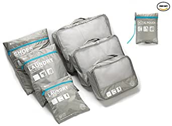 Beschan 6pc Compression Waterproof Travel Luggage Organizer Packing Cubes Laundry Bag(Grey)