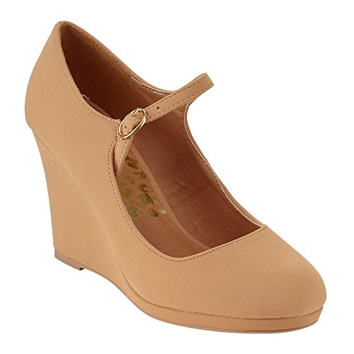 QUPID FE50 Women's Single Strap Mary Jane Platform Wedge Heel Dress Pumps, Color:BLUSH, Size:6.5 (Mary Single Jane Strap)