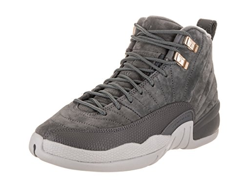 Jordan Nike Kids Air 12 Retro BG Dark/Grey/Dark/Grey/Wolf/Grey Basketball Shoe 6.5 Kids US by Jordan