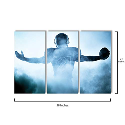 - 3 Piece Canvas Wall Art - American Football Player Portrait in Silhouette Shadow - Modern Home Decor Stretched and Framed Ready to Hang - 12