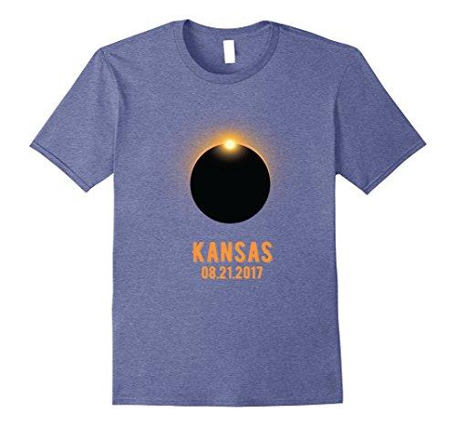 Mens KANSAS  Total Solar Eclipse August 21 2017 USA T Shirt Large Heather - Shield Solar Sunglasses For Eclipse