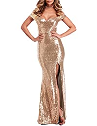 Womens Off Shoulder Sequins Evening Dress Split Mermaid Prom Gown YPM464