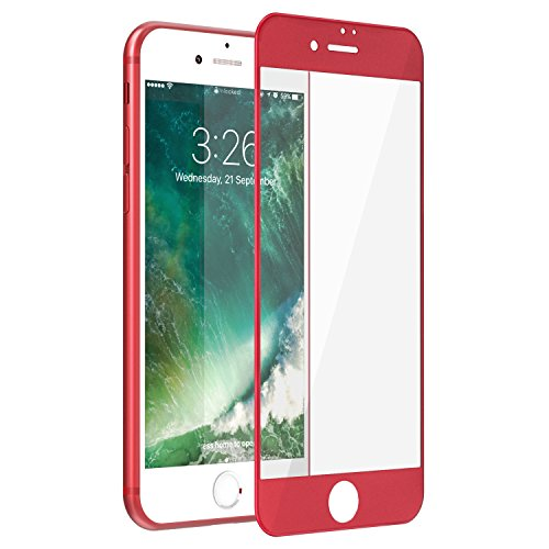 iPhone 7 Plus Screen Protector, F-color Red Apple iPhone 7 Plus Tempered Glass Screen Protector Film Full Coverage with Alloy Metal Frame, iPhone 7 Plus Screen Cover HD Clear, Life Time Warranty, Red