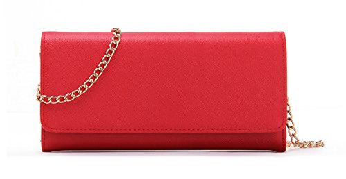 (Women's Faux Saffiano Bifold Cross Body Clutch Wallet)