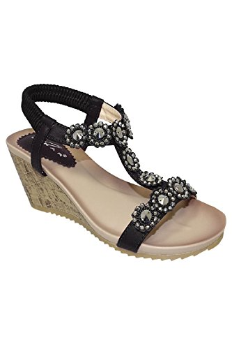 Sapphire Boutique JLH780 Cally Women's Comfortable T-Strap Floral Flower Elasticated Wedge Sandals Black OMGQvyg