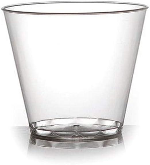 aoory Pack de 60 Vasos de plástico Duro de Estilo Antiguo de Moda para Fiesta, Vasos de plástico – Cristal Transparente – 255 ml: Amazon.es: Hogar